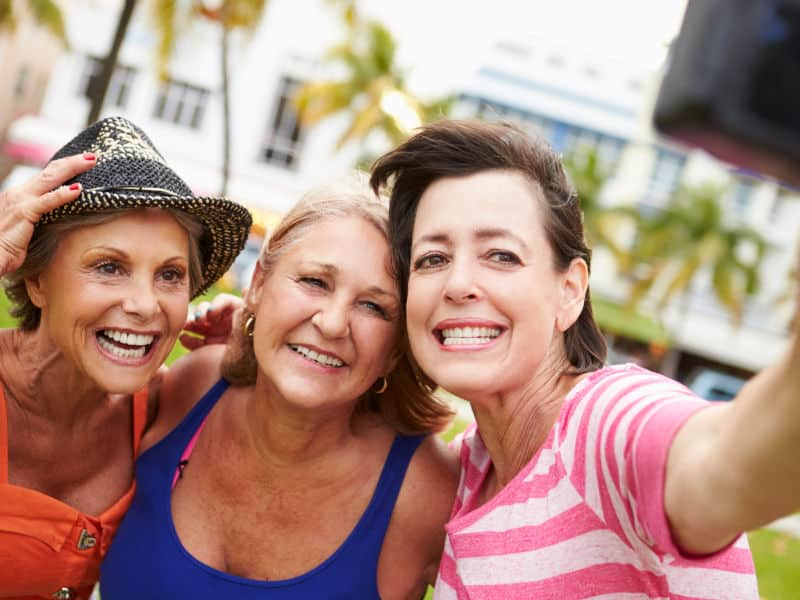 Group of women having fun taking a selfie.